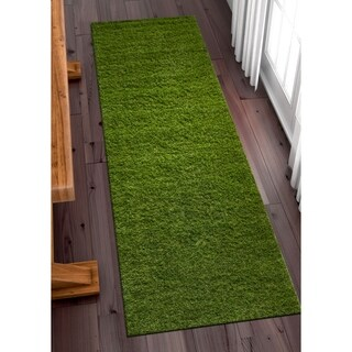 "Well Woven Artificial Grass Indoor Outdoor Turf Green Runner Rug - 2'7"" x 8'"