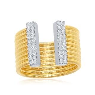 La Preciosa Sterling Silver Italian Designer Matte 14K Gold w/ CZ Bars Open Wide Ring