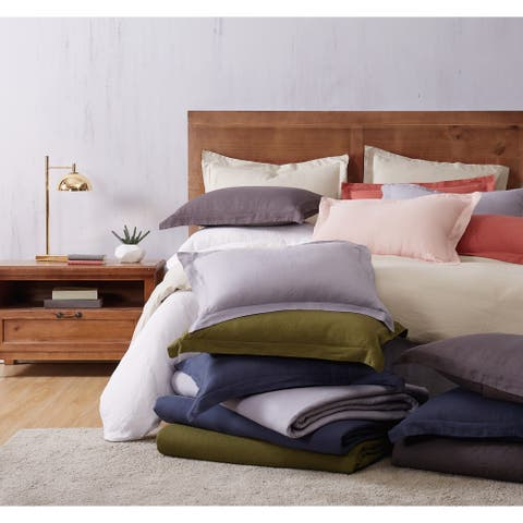 Brooklyn Loom Natural Flax Linen 3 Piece Duvet Set