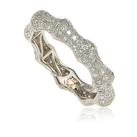 Suzy L. Sterling Silver Cubic Zirconia Eternity Band - White