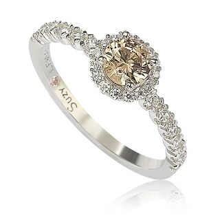 Suzy Levian Sterling Silver Cubic Zirconia Petite Brown Bridal Ring