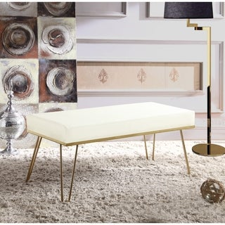 Link to Chic Home Aldelfo Bench PU Leather Upholstered Brass Finished Frame Similar Items in Living Room Furniture
