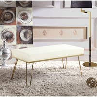 Chic Home Aldelfo Bench PU Leather Upholstered Brass Finished Frame