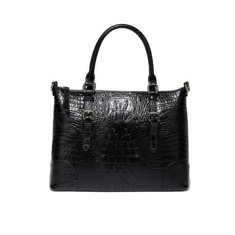 Marvee Croc Embossed Leather Handbag