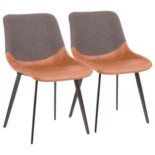 Outlaw Industrial Two-Tone Chair in Faux Leather and Fabric (Set of 2)