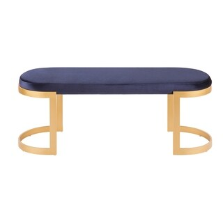 Demi Contemporary-Glam Entrway/Dining Bench in Gold with Velvet Fabric