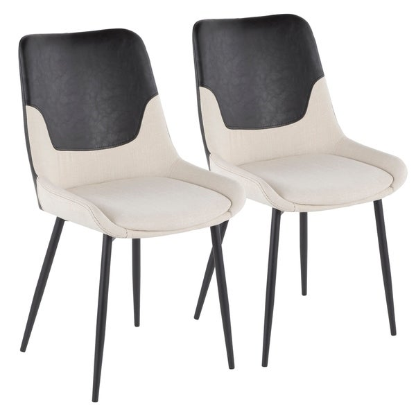 Wayne Industrial Two-Tone Chair in Fabric and Faux Leather (Set of 2)