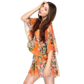 Simplicity Silky Loose Fit Spring/Summer Top in a Sheer Floral Design