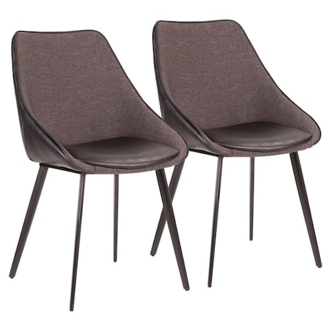 Copper Grove Aken Fabric and Faux Leather Chairs (Set of 2) - N/A