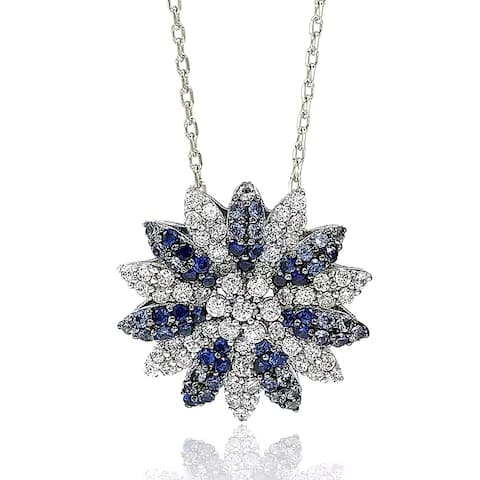 Suzy Levian Sapphire and Diamond Accent in Sterling Silver Petite Flower Pendant