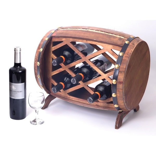 Shop Rustic Wooden Barrel Shaped Wine Rack 7 Bottle Decorative Wine