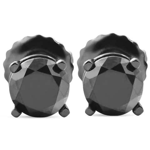 Pompeii3 14k Black Gold 1ct TDW Black Diamond Round Stud Earrings