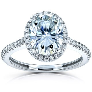 Annello by Kobelli 14k Gold 2 1/4ct TGW Moissanite and Diamond Oval Halo Engagement Ring (FG/VS, GH/I)