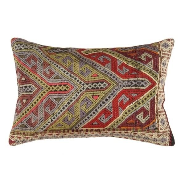 """Vintage Turkish Kilim Lumber Pillow (16"""" X 24"""")"""
