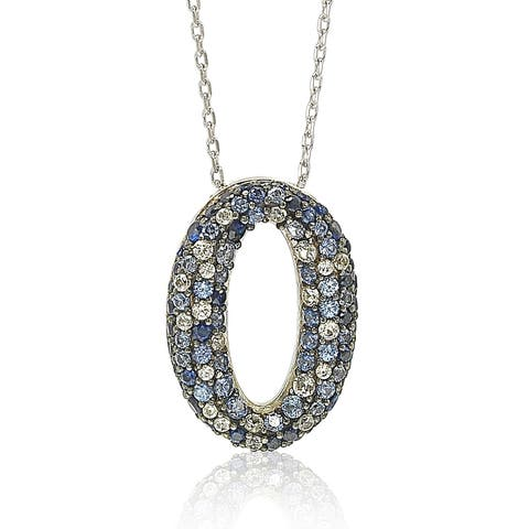 Suzy Levian Sapphire and Diamond Accent in Sterling Silver Petite Oval Pendant
