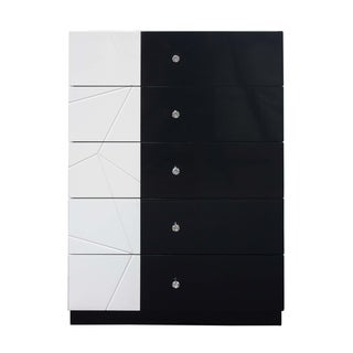 Best Master Furniture White/ Black 5 Drawer Chest