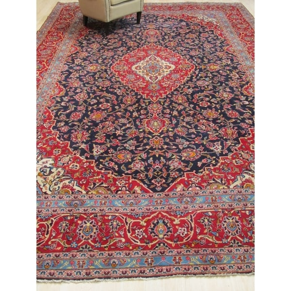 Hand-knotted Wool Blue Traditional Oriental Kashan Rug - 10' x 16'