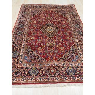 Hand Knotted Wool Red Traditional Oriental Kashan Rug 4 7 X