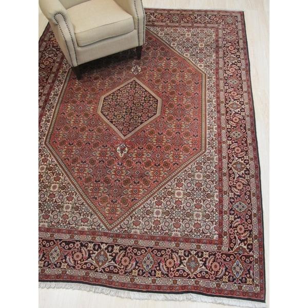 Hand-knotted Wool Rust Traditional Oriental Bidjar Rug - 7' x 10'