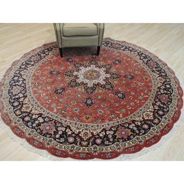 Hand Knotted Persian Tabriz Wool Area Rug Ebth: Shop Hand-knotted Wool Orange Traditional Oriental Tabriz