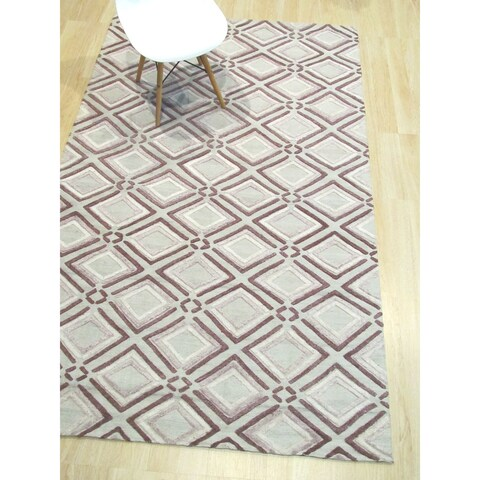 Handmade Wool Purple Contemporary Geometric Raga Rug - 5' x 8'