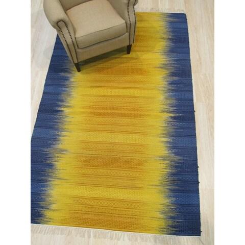 Handmade Wool Yellow Transitional Ombre Santa Fe Rug - 5' x 8'
