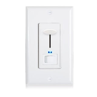 Maxxima 3-Way/Single Pole Dimmer Switch 600W Indicator Light LED Compatible, Wall Plate Included - White