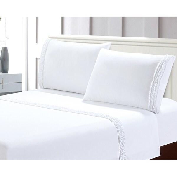 Bella Ruffled 4pcs Microfiber Bed Sheet Set
