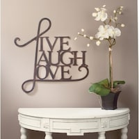 Live Laugh Love Wall Decor Antique Copper White Finish