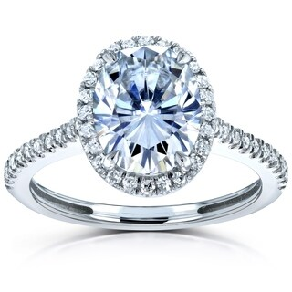 Annello by Kobelli 14k Gold 2 1/4ct TGW Forever One Moissanite and Diamond Oval Halo Engagement Ring (DEF/VS, GH/I)