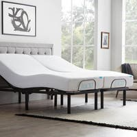 LUCID Comfort Collection 10-inch Split King-size Gel Memory Foam Mattress with  L100 Adjustable Bed Base