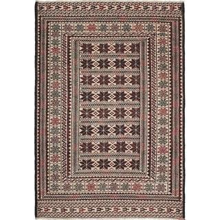 eCarpetGallery  Flat-weave Shiravan Sumak Cream, Dark Red Wool Sumak - 4'0 x 5'11