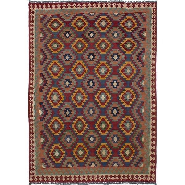 eCarpetGallery Flat-weave Sivas Dark Blue, Dark Red Wool Kilim - 6'8 x 9'8