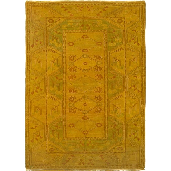 eCarpetGallery Hand-knotted Color Transition Dark Gold Wool Rug - 6'7 x 9'2