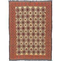 """eCarpetGallery  Flat-weave Shiravan Sumak Cream Wool Sumak - 5' x 6'10"""""""