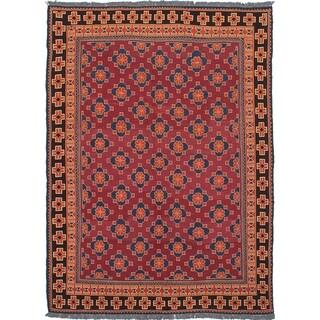 eCarpetGallery Flat-weave Shiravan Sumak Dark Red Wool Sumak - 6'8 x 9'8