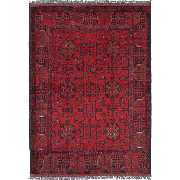 eCarpetGallery Hand-knotted Finest Khal Mohammadi Red Wool Rug - 3'4 x 4'11