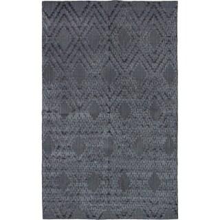 eCarpetGallery Hand-knotted Luribaft Gabbeh Riz Dark Grey Silk Rug - 4'11 x 8'0