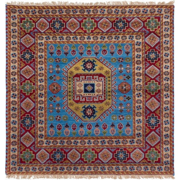 ECARPETGALLERY Hand-knotted Royal Kazak Red, Sky Blue Wool Rug - 5'2 x 5'2