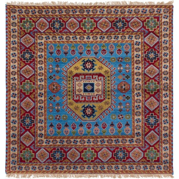 eCarpetGallery Hand-knotted Royal Kazak Red, Sky Blue Wool Rug - 5'2 x 5'2