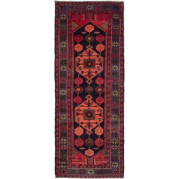 ECARPETGALLERY Hand-knotted Zanjan Black, Dark Copper Wool Rug - 3'9 x 9'9