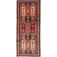 ECARPETGALLERY  Hand-knotted Ardabil Dark Navy, Dark Red Wool Rug - 4'1 x 9'10