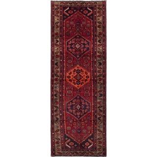 ECARPETGALLERY  Hand-knotted Hamadan Dark Burgundy Wool Rug - 3'8 x 10'2