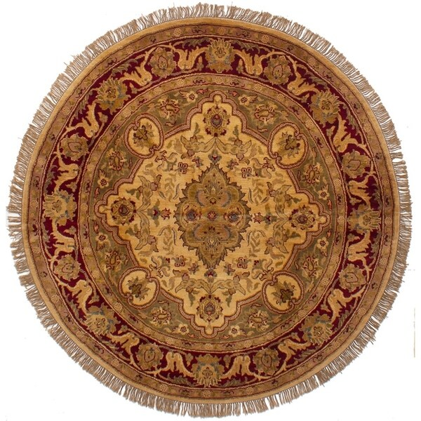 eCarpetGallery Hand-knotted Jaipur Ivory Wool Rug - 6'0 x 6'0