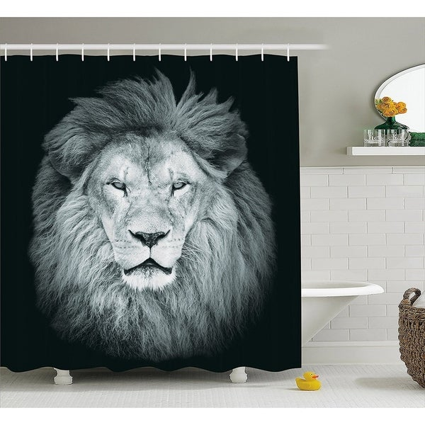 Portrait Of Huge Male African Lion Shower Curtain