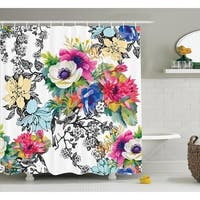 Polyester Fabric Bathroom Shower Curtain Set