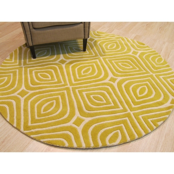 "Hand-tufted Wool Yellow Transitional Geometric Marla Rug - 7'9"" x 7'9"""
