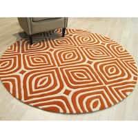 EORC Marla Transitional Orange Wool Geometric Handmade Round Rug - 7'9 x 7'9