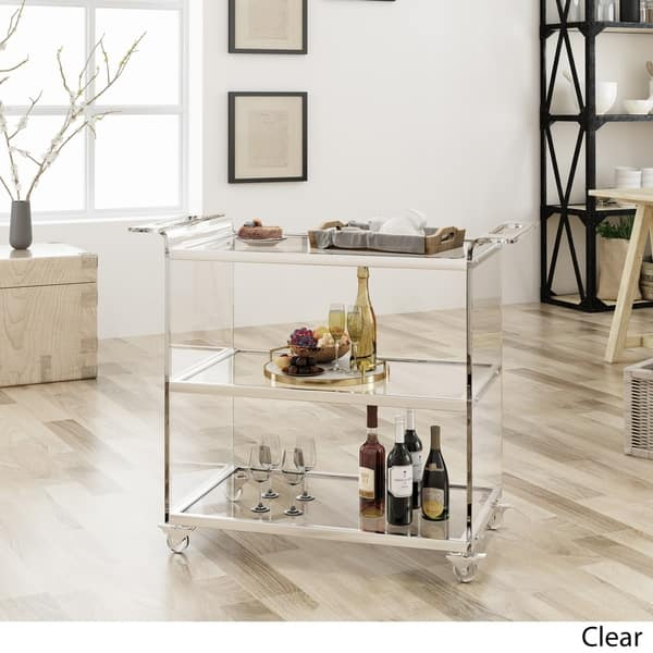 Shop Yves Bar Trolley With Glass Shelves By Christopher Knight Home