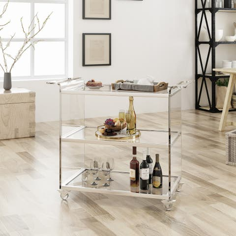 Yves Bar Trolley with Glass Shelves by Christopher Knight Home